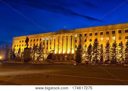 Night Lenin Square in Stavropol Russia Night Lenin Square in Stavropol Russia