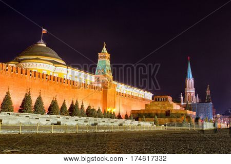 Night view of Moscow Red Square Spasskaya Tower of Kremlin