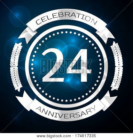Twenty four years anniversary celebration with silver ring and ribbon on blue background. Vector illustration