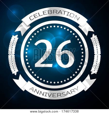 Twenty six years anniversary celebration with silver ring and ribbon on blue background. Vector illustration