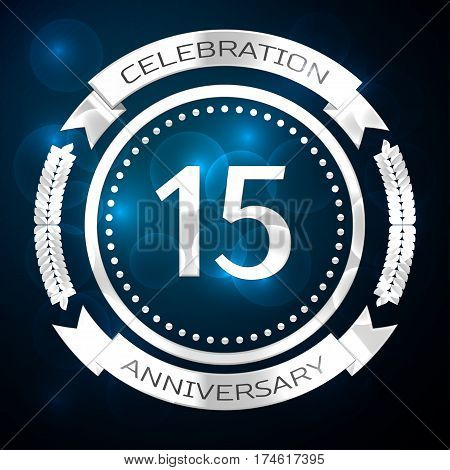 Fifteen years anniversary celebration with silver ring and ribbon on blue background. Vector illustration