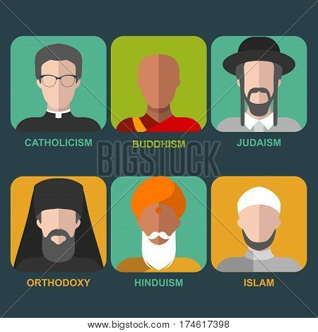 Vector set of different confession man. People of different religion in traditional clothing in trendy flat style. Islam, judaism, buddhism, orthodox, catholic, hinduism icons