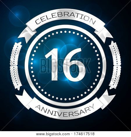 Sixteen years anniversary celebration with silver ring and ribbon on blue background. Vector illustration