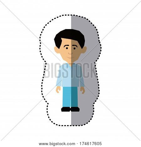sticker colorful picture man dressed formal style vector illustration