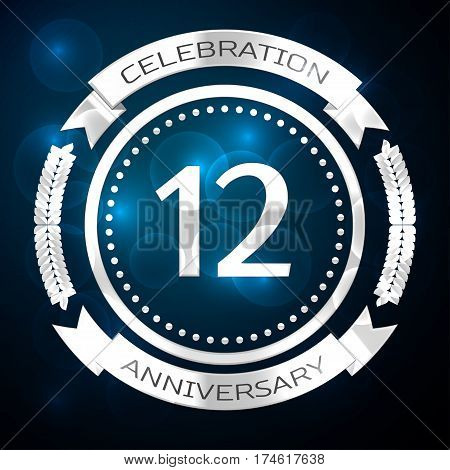 Twelve years anniversary celebration with silver ring and ribbon on blue background. Vector illustration