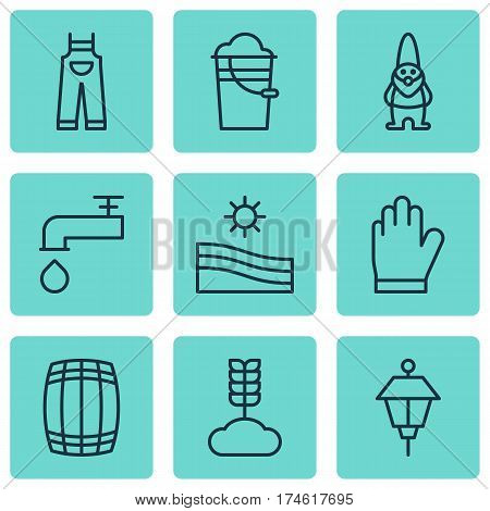 Set Of 9 Planting Icons. Includes Meadow, Cereal, Spigot And Other Symbols. Beautiful Design Elements.