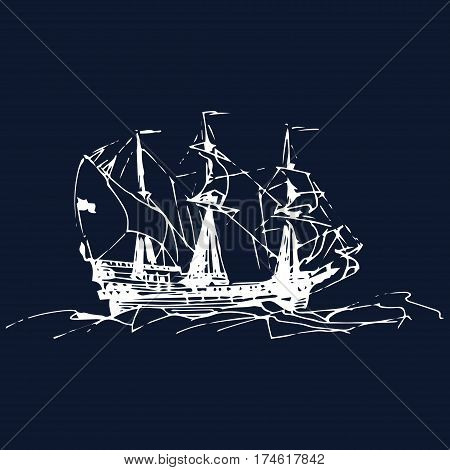 Sailing galleon ship in the ocean in ink line style. Vector hand sketched old warship. Marine theme design