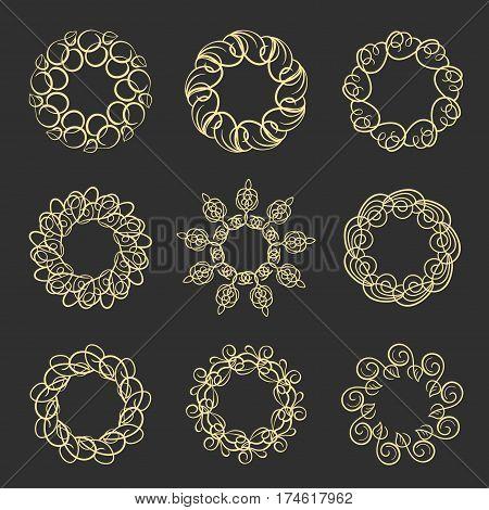 Vector set of design floral round wreath frames