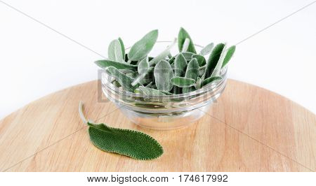 Pile of sage leaves in transparent glass bowl and lone leaf on round wooden cutting board