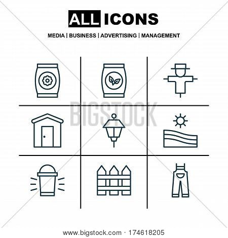 Set Of 9 Holticulture Icons. Includes Hang Lamp, Grains, Fertilizer And Other Symbols. Beautiful Design Elements.