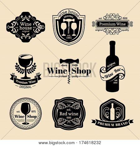 Vector set of vintage wine logo. Retro wine icons collection