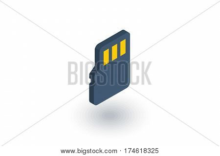 Flash memory SD card isometric flat icon. 3d vector colorful illustration. Pictogram isolated on white background