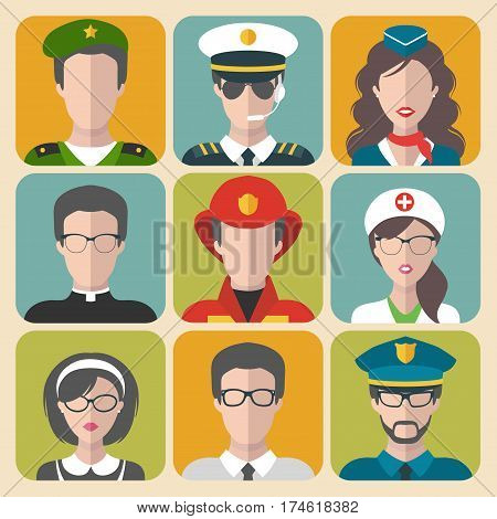 Vector set of different professions man and woman app icons in trendy flat style