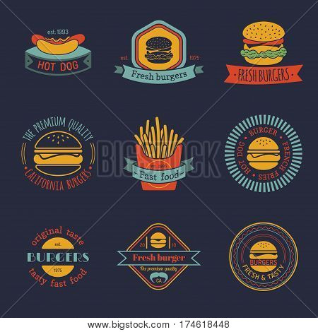 Vector vintage fast food logo set. Retro eating signs collection. Burger, hot dog etc. emblems. Bistro, snack bar, restaurant, cafe, american diner icons.