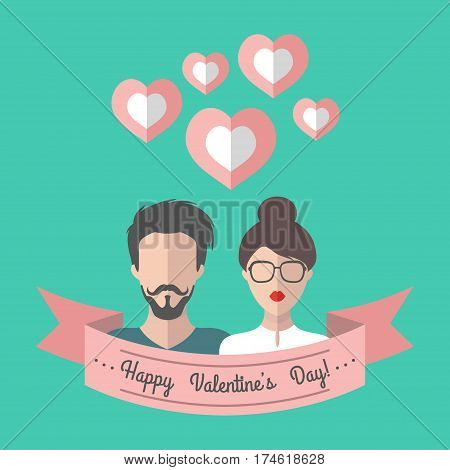 Vector holiday Valentine's card with lovers and hearts in trendy flat style