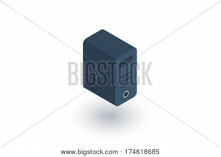computer system unit, bloc isometric flat icon. 3d vector colorful illustration. Pictogram isolated on white background