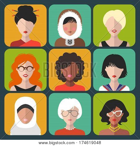 Vector set of different nationality woman icons in trendy flat style