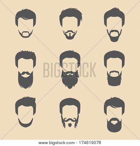Vector set of different men hipster haircuts, beard, mustache icons in trendy flat style. Male faces icons collection