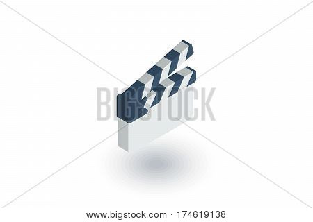 movie clapperboard isometric flat icon. 3d vector colorful illustration. Pictogram isolated on white background