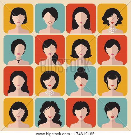 Big vector set of different haircuts women app icons in flat style