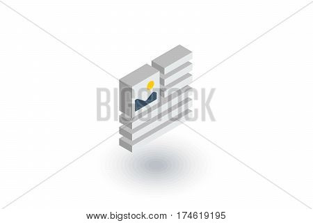 picture, image and text content, newspaper article isometric flat icon. 3d vector colorful illustration. Pictogram isolated on white background