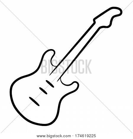 Electric guitar black contour lines on the white background vector illustration