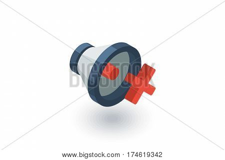 speaker, mute isometric flat icon. 3d vector colorful illustration. Pictogram isolated on white background