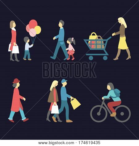 Vector set of walking and shopping people icons in trendy flat style. Collection of different man, woman, child images
