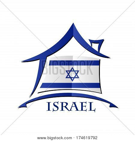 House icon made from the flag of Israel