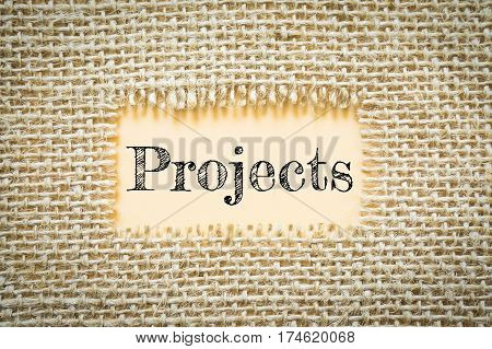 Text Projects on paper Orange has Cotton yarn background you can apply to your product.