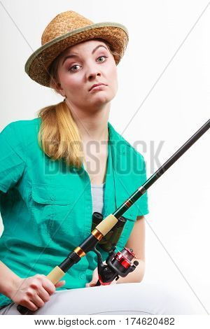 Woman With Fishing Rod , Spinning Equipment