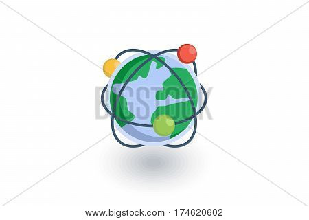 Global communication, network, internet isometric flat icon. 3d vector colorful illustration. Pictogram isolated on white background