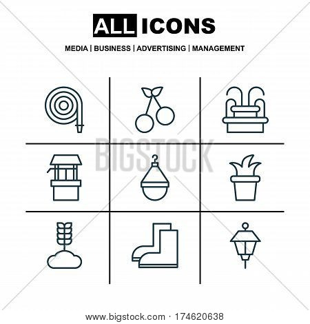 Set Of 9 Gardening Icons. Includes Sweet Berry, Gardening Shoes, Water Source And Other Symbols. Beautiful Design Elements.