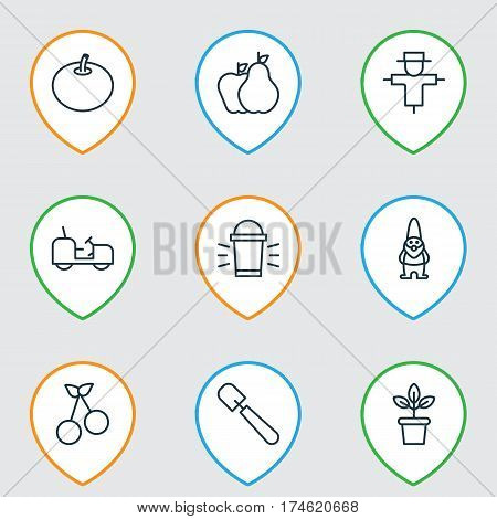 Set Of 9 Agriculture Icons. Includes Dwarf, Sweet Berry, Hang Lamp And Other Symbols. Beautiful Design Elements.