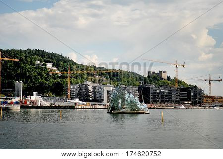 Oslo Norway - July 22 2014: The floating sculpture in front of the Oslo Opera House namely