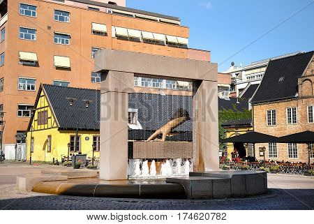 Oslo Norway - July 22 2014: Sculpture of King Hand in Oslo Norway. King Christian IV decided to rebuild the city after fire in 1624. He pointed to this spot and said - the new town will lie here!