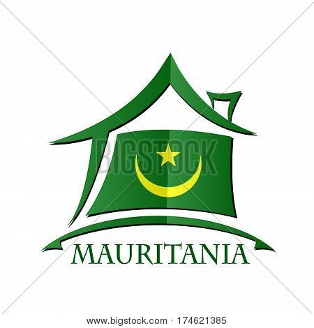 House icon made from the flag of Mauritania