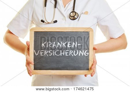 Doctor holding a blackboard with the German word
