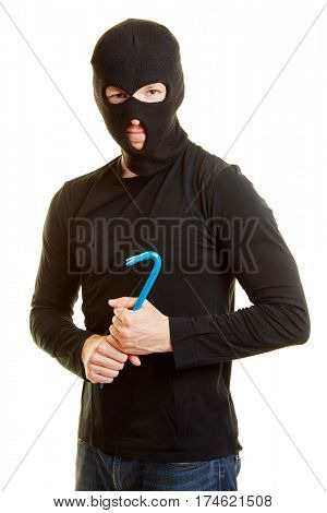 Man as a burglar with a mask