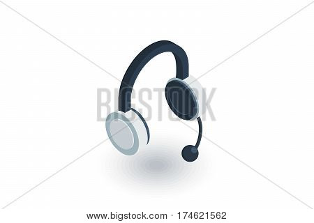 technical support, headphones microphone, operator isometric flat icon. 3d vector colorful illustration. Pictogram isolated on white background