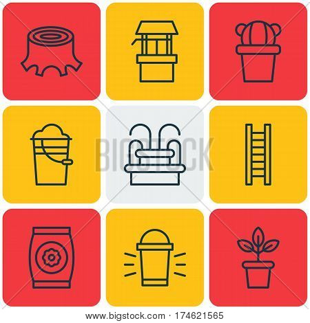 Set Of 9 Plant Icons. Includes Tree Stub, Hang Lamp, Desert Plant And Other Symbols. Beautiful Design Elements.
