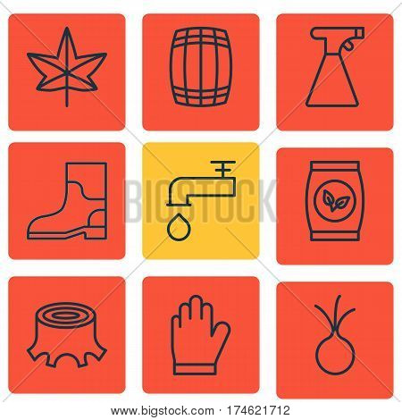 Set Of 9 Farm Icons. Includes Sprinkler, Spigot, Garlic And Other Symbols. Beautiful Design Elements.