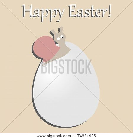 postcard a happy Easter. festive baby poster snail on the egg. vector illustration. baby shower
