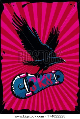 Grunge style illustration with bird and skateboard. Extreme sport poster.