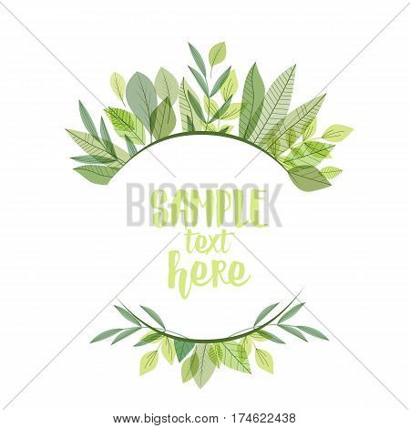 Vector illustration of decoration branches with leaves and grass, nature background with place for text