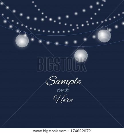 Vector illustration color background with paper lantern
