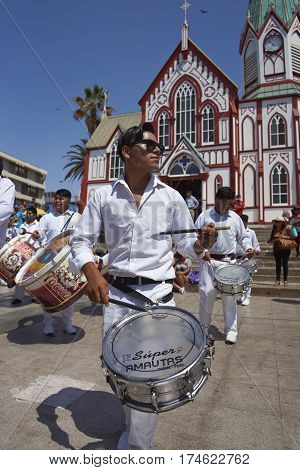 ARICA, CHILE - FEBRUARY 10, 2017: Band of a Morenada Dance Group performing during a street parade at the annual Andean Carnival in Arica, Chile