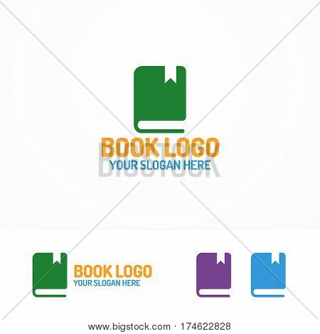 Book logo set different color isolated on white background for use bookshop, store, market, library etc. Vector Illustration