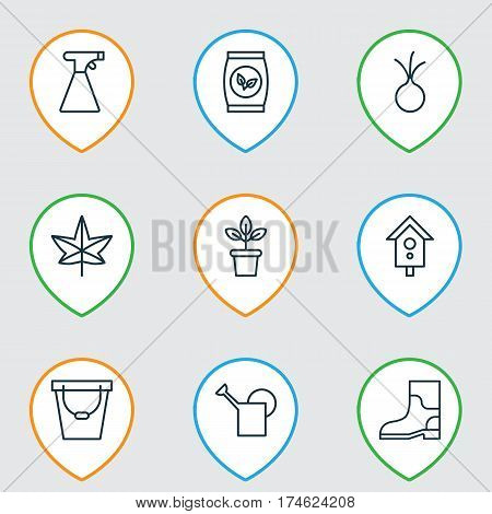Set Of 9 Planting Icons. Includes Birdhouse, Pail, Garlic And Other Symbols. Beautiful Design Elements.