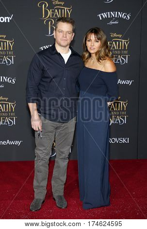 Matt Damon and Luciana Bozan Barroso at the Los Angeles premiere of 'Beauty And The Beast' held at the El Capitan Theatre in Hollywood, USA on March 2, 2017.